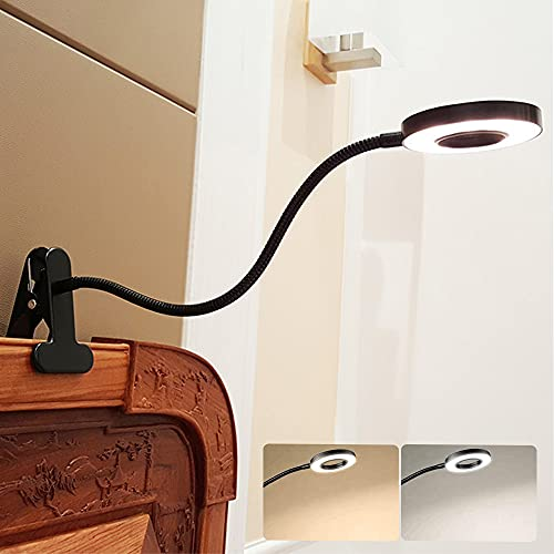 W-LITE 6W LED USB Reading Light Clip Laptop Lamp for Book,Piano,Bed Headboard,Desk, Eye-Care 2 Light Color Switchable, Adapter Included, Black