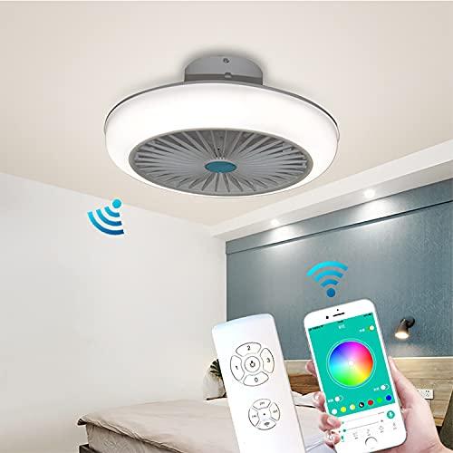 RGB Ventilador Techo Con Luz Silencioso Wifi, Ventilador De Techo Con Luz Y Mando A Distancia Colores Ventilador De Techo Con Mando Y Cambia Color Lampara Ventilador Techo 45CM,Q