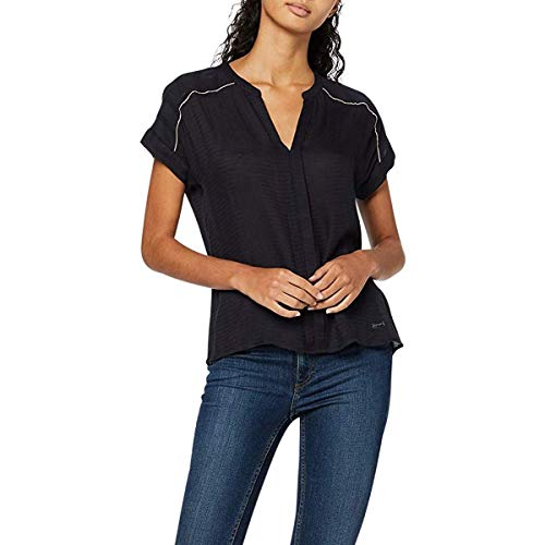 Teddy Smith T-TAMI Top à Manches Longues Femme, Bleu (Dark Navy 351), X-Small (Taille fabricant:0/XS)