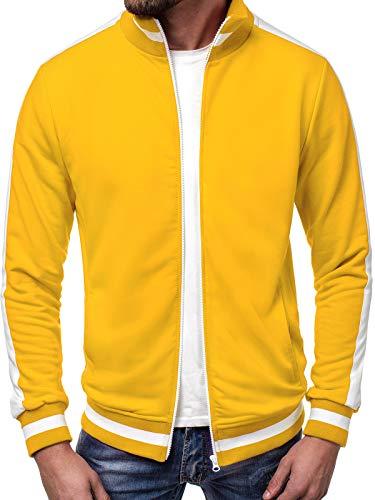 OZONEE Herren Sweatshirt Sweatjacke Sportjacke Pullover Pulli Basic Klassiker Longsleeve A/1008 GELB M