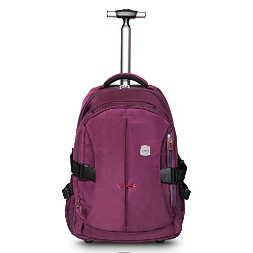 SKYMOVE 19 inches Wheeled Rolling Backpack for Adults and School Students Laptop Books Travel Backpack Bag, Purple