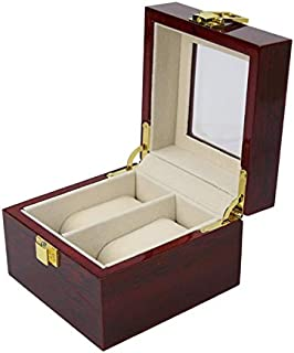 Whiteswanau 2 Insert Grid Slots & 2 Removable Pads PU Leather Watch Box Display Case Organizer Jewelry Storage Organizer
