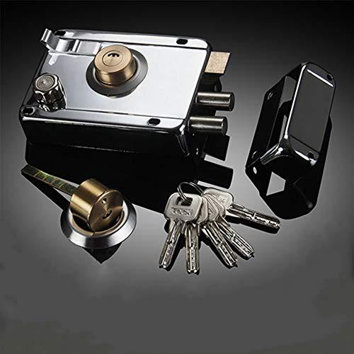 Rome Deadlock - Cerrojo de llanta de acero inoxidable con accionamiento de llave, accesorio exterior para puertas o puertas de madera