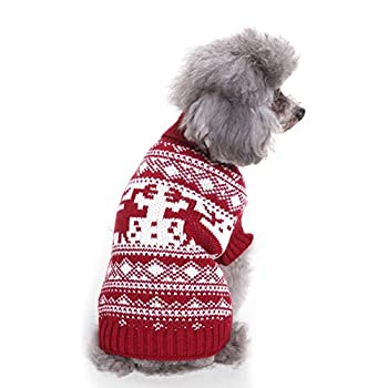 Tineer Pet Xmas Pull-Overs - Pull Chiot Sweater à Capuche Tricots Halloween Cartoon Chaud Manteau vêtements de Noël pour Petits Chiens Moyens Chats Lapins (XXL, Renne - Rouge)