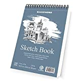 Bachmore Sketchpad 9X12' Inch (57lb/85g), 100 Sheets of Spiral Bound Sketch Book For Artist Pro & Amateurs   Marker Art, Colored Pencil
