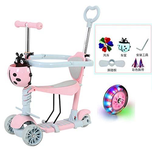 ZLYJ Scooter Patinete Infantil 5 en 1 con Asiento Plegable Ajustable de Altura Ajustable Pedales de Goma Suave Gran Patinete de LED Extra Anchas para niños y niñas a Partir de 2 años