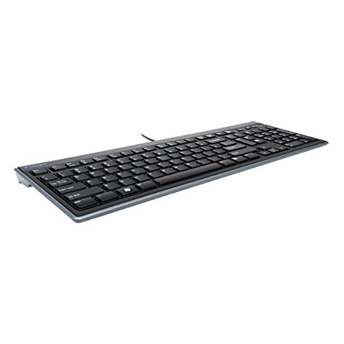 Kensington 948067 Advance Fit - Teclado Fino y Silencioso con Cable de Tamaño Normal, con Teclas Multimedia para Control del Volumen y Funcionamiento Plug & Play, Compatible con Windows y Mac, Negro