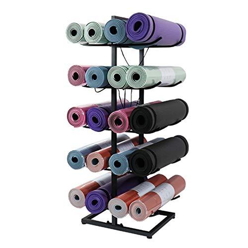 Piso Grande del Estante del Almacenamiento de La Estera de La Yoga, 5 Niveles Soporte Organizador de Colchoneta de Ejercicio para 20 Rodillos de Espuma (Color : Black)