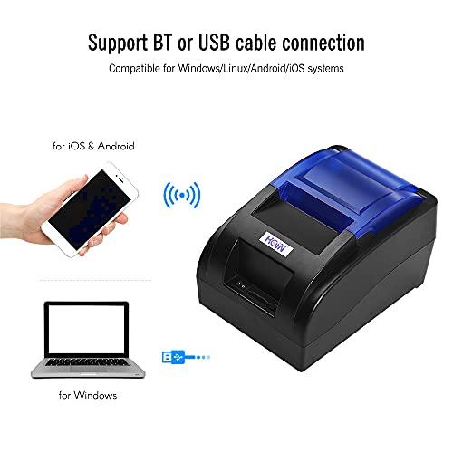 Bisofice Impresora térmica de recibos portátil de 58mm impresora tickets con interfaz BT y USB Impresión clara de billetes de alta velocidad Compatible con el conjunto de comandos ESC/POS