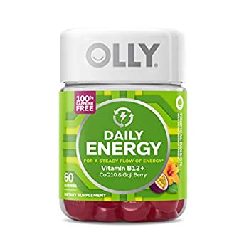 OLLY Daily Energy Gummy 30 Day Supply  60 Gummies  Tropical Passion Vitamin B12 CoQ10 Goji Berry Caffeine Free Chewable Supplement