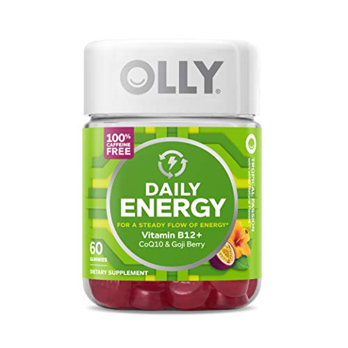 OLLY Daily Energy Gummy, 30 Day Supply (60 Gummies), Tropical Passion, Vitamin B12, CoQ10, Goji Berry, Caffeine Free, Chewable Supplement