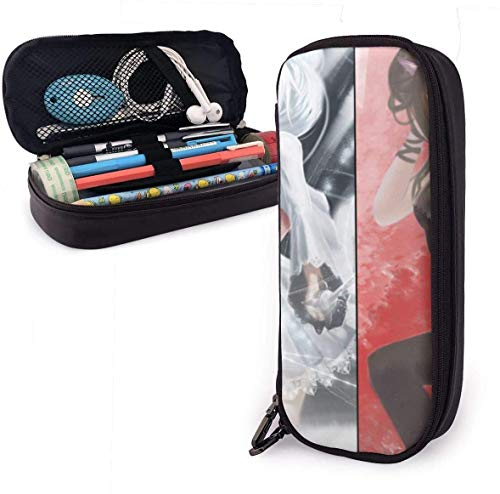 zhengchunleiX RWBY Leather Pencil Case Pen Bag for Girls Boys Kids Adult Pencil Pouch Stationery Storage Bags for School Office