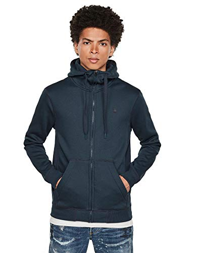 G-STAR RAW Mens Premium Core Hooded Zip Cardigan Sweater, Legion Blue C235-862, L