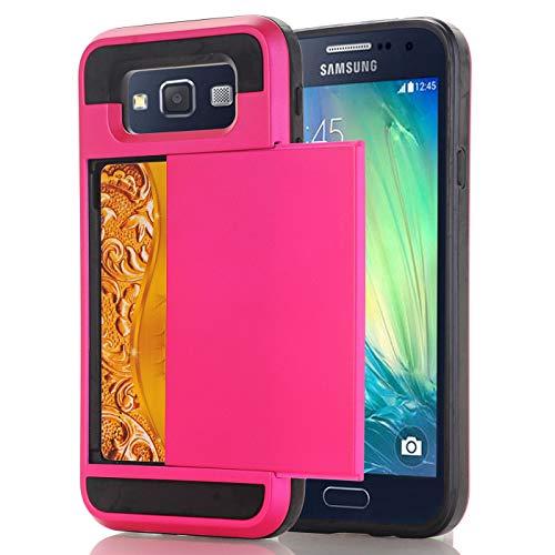 Samsung E5 Hoesje Case, slanke portemonnee kaartsleuf houder schuiven verborgen zak dubbele laag zware bescherming robuuste harde shell Hoesje Case Case voor Galaxy E5 5.0inch, Samsung E5 5.0inch, 6