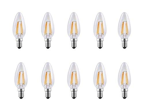 Energaline 92280. Lamp kaars LED gloeidraad laag energieverbruik 4 W = 40 W warmwit kleine fitting E14, 10 stuks