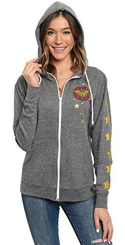 DC Comics Wonder Woman Hoodie Zip Jacket Logo Stars (Heather Grey, Large)