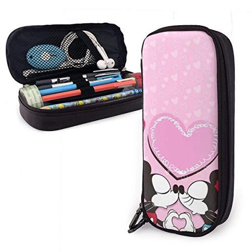Pencil Case Loving Mickey und Minnie Big Capacity Pencil Bag Make-up Pen Pouch Briefpapier mit Doppelreißverschluss Stifthalter für Schulbüro ~ B7