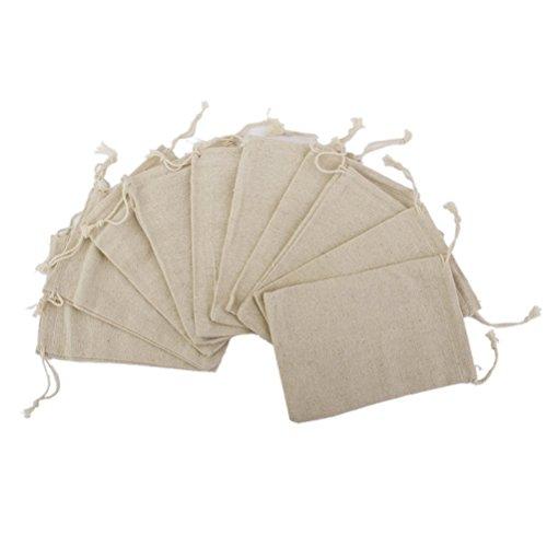 rosenice Tüten Stoffbeutel klein Verpackung für Adventskalender Weinachten Hochzeit Geburtstag Leinen Jute Beutel mit Zugband 12,5 x 16,5cm