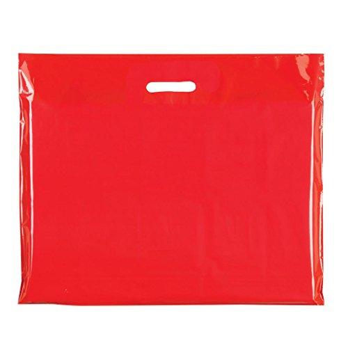 Complete Retail Solution Ltd 100x rosso sacchetti di plastica resistente Colored party sacchetti regalo in 3misure, plastica, Red, 22' X 18'+4(56x45cm)