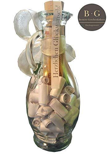 Geldgeschenk kreativ und originell verpacken (kleine Flasche mit Sprüchen und Zitaten zur Hochzeit & zum Valentinstag, Geburtstag, Dankeschön Geschenke), Silber mit extra Streifen