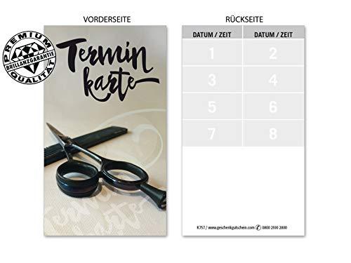 100 hochwertige Terminkarten für Friseurgeschäft Friseur Friseurbedarf. Vorderseite hochglänzend. K757