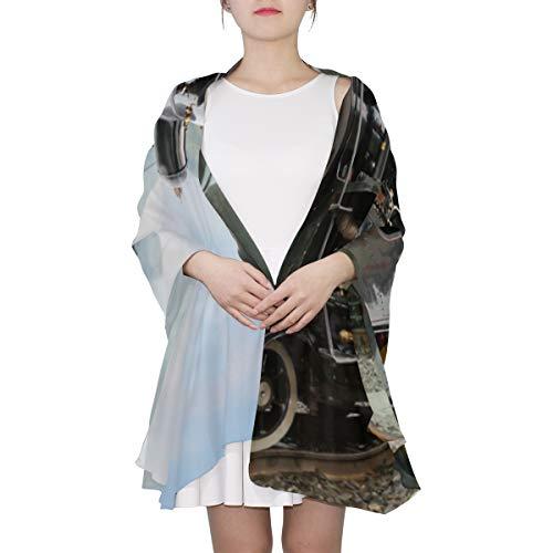 WYYWCY Weinlese-schwarzer Dampf angetriebener Eisenbahn-Zug einzigartiger Mode-Schal für Frauen-leichte Mode-Herbst-Winter-Druck-Schal-Schal wickelt Geschenke für Vorfrühling ein