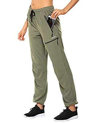 MOCOLY Women's Cargo Hiking Pants Elastic Waist Quick Dry Lightweight Water Resistant Active Long Pants UPF 50+ Green M