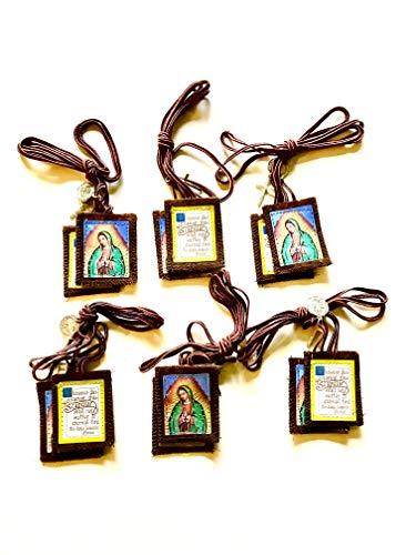 Escapularios La Virgen De Guadalupe - Collar Escapularios Marrón Mujer Hombre - Escapulario con Medalla y Crucifijo