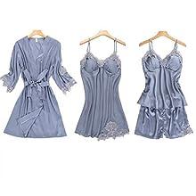 Damas Satinado Pijama de 4 y 5 Piezas Pijama de Seda Bordado Servicio Inicio Informal Pijamas Pijamas del cojín del Pecho, de 4 Piezas de Gris, XXL