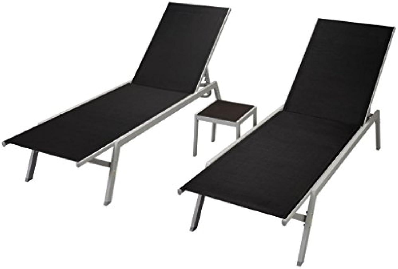 VidaXL 2X Sonnenliege Tisch Textilene Liegestuhl Relaxliege Gartenliege Liege