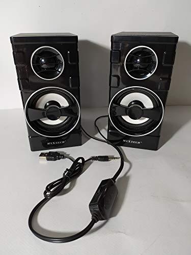Maxtech - Altavoces amplificados de 20 W, par USB 2.0 Square-X de 2 vías para PC portátil, MP3/MP4 Mobile Phone serie Lux