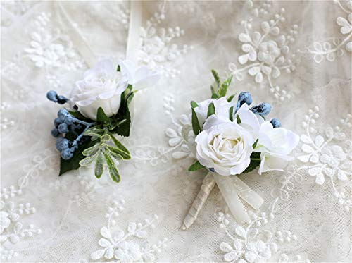 Flonding Rose Wedding Wrist Corsage and Boutonniere Set Party Prom Hand Ribbon Flower Suit Decor (White)