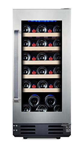 """Kalamera 15"""" Wine Fridge 30 Bottle Built-in or Freestanding Wine Cooler Refrigerator with Stainless Steel & Double-Layer Reversible Glass Door and Temperature Memory Function"""