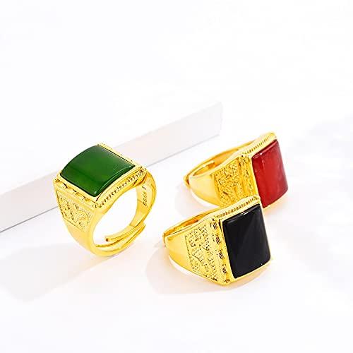 JIUXIAO Moda para Hombre Anillo de Color Dorado con Incrustaciones de Jade Ágata Obsidiana Anillo con Rojo Verde Negro Anillos de Piedra Encantos Piedras Preciosas Joyería de Pareja