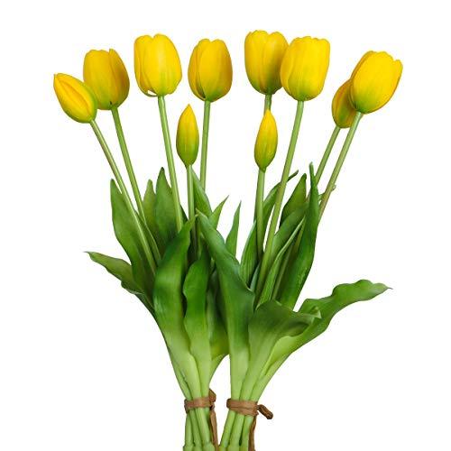 Tulipani Artificiali con Fiori e Boccioli di Tulipano, Tocco Reale, Fiore Artificiale Fiori Finti per Decorazioni Interno Nozze Ufficio Finestra - 2 Mazzi, Giallo
