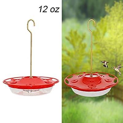 Juegoal 12 oz Hanging Hummingbird Feeder with 5 Feeding Ports