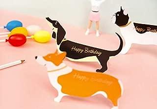 Giga Gud Father's Day Cute Dog,Dachshund,Corgi,Bulldog,Puppy Pop Up Greeting Card Valentine's Day Cards,Mother's day card,Wedding card,Valentine's gift,Pet Birthday Card(Set of 3)