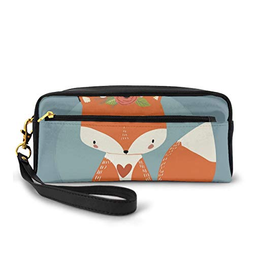 Pencil Case Pen Bag Pouch Stationary,Greetings To The Coming Of Summer Season Drawing Of A Fox With Flourishing Flowers,Small Makeup Bag Coin Purse
