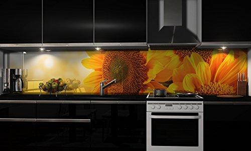 """Küchenrückwand Folie selbstklebend """"Sunflowers"""" Klebefolie Dekofolie Spritzschutz Küche verschiedene Größen"""