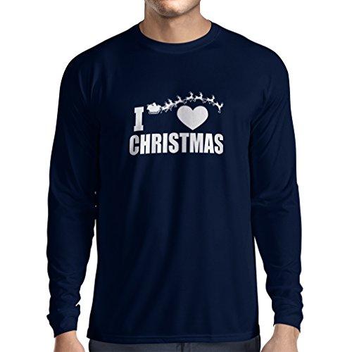 Camiseta de Manga Larga para Hombre Me Encanta la Navidad - Trajes de Navidad, Papá Noel y los Renos (XX-Large Azul Multicolor)