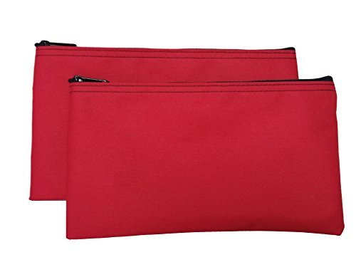 Cardinal Bag Supplies Travel Zipper Bags 11 x 6 inches Small Compact Portable Red Zippered Cloth Pouches 2 Pack CW