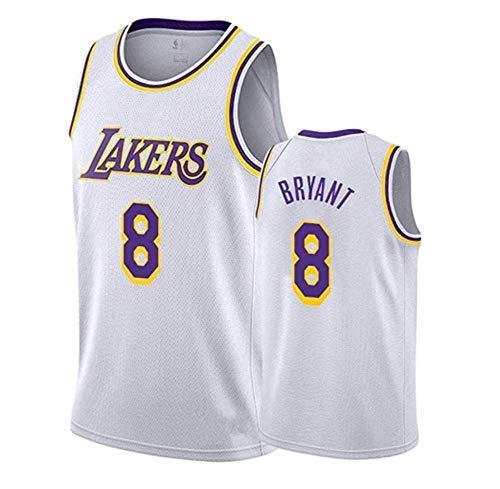 Sin mangas unisex 24 de Kobe Bryant Lakers Jersey, baloncesto masculino, bordado de malla de baloncesto swingman Jersey Gran,Round neck white 8,M