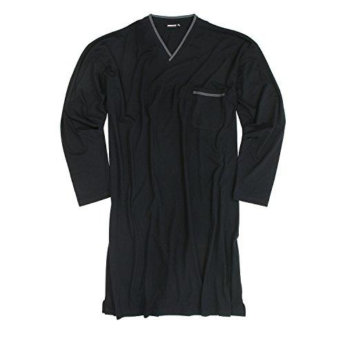 ADAMO Camisón de manga larga para hombre, tallas grandes hasta 10XL Negro XXXXL