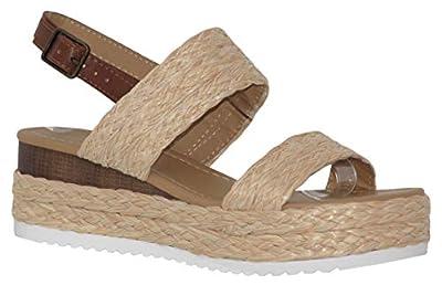 MVE Shoes Women's Braide Espadrille Platform Adjustable Strap, Guava NAT Raffia 7.5