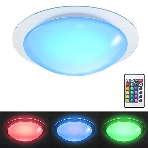 B.K.Licht Plafón LED regulable I Lámpara de techo LED multicolor I 16 colores seleccionables con mando a distancia I Ø28cm 12W I Exterior y Interior I Blanco neutro 3000K I 16RGB