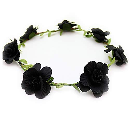 花かんむり 花冠 花かんむり 黒 ヘッドドレス 髪飾り コサージュ ウエディング ドレス花冠 fhkan007bk
