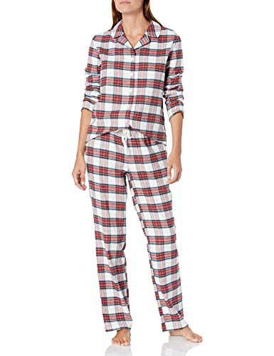 Amazon Essentials Women's Flannel Long Sleeve Shirt and Full Length Pant Pajama Set, White Tartan Flannel, X-Large