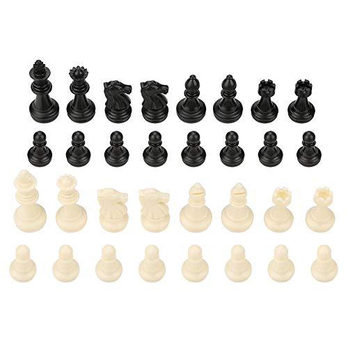 Zerodis Schachspiel International 32 Standard Schachfiguren Ersatz Turnier Schachfiguren mit Königen Königinnen Burgen Ritter für Kinder Teenager Erwachsene