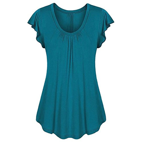 Tamaño Grande Blusa Mujer, Covermason Camiseta sin Mangas Irregular, Volante de Manga Corta para Mujer(38,Azul Oscuro)