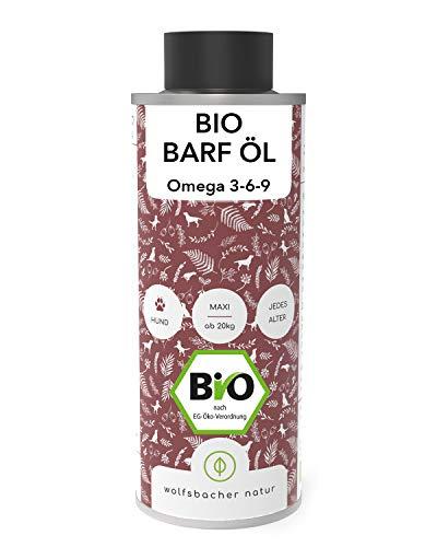 Bio Barf-Öl für Hunde und Katzen (1 Liter), Mit Vitamin E aus 6 verschiedenen Ölen - Omega 3 6 9 Öl aus kontrolliert biologischem Anbau, DE-ÖKO-060
